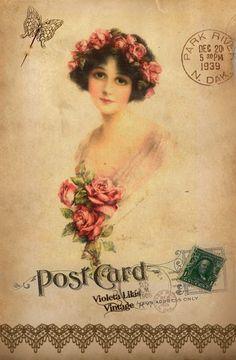 Series of postcards made by Violet Purple Vintage: vintage lady with med. pink roses.