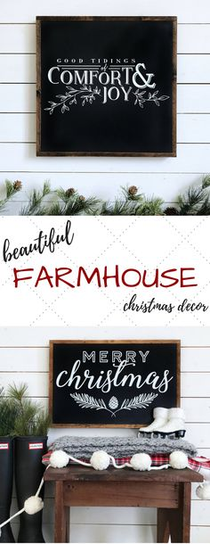 Lovely Farmhouse Christmas Signs!! The dark background with the white text is my favorite ... so classic, yet modern! And of course this is perfect of the farmhouse look! #fixerupper #rusticchristmasdecor #rusticdecor #farmhousedecor #farmhousechristmas