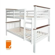 Monza Two-tone Solid New Zealand Pine Timber Single Bunk Bed - White / Walnut