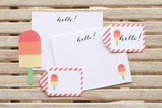 "Free printables, this time with the theme ""Summer""! For my designs, I created a set of Popsicle Stationery, including flat notecards and tags! The notecards are 4.25″ x 5.5″ and fit perfectly in an A2 envelope (available here). You can either just cut out the gift tags or use our large tag punch, which is the perfect size!"