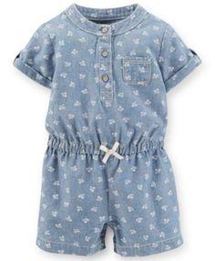 Carter's Baby Girls' Chambray Romper, Denim, 3 Months for sale online Teen Girl Fashion, Toddler Fashion, Toddler Outfits, Kids Outfits, Kids Fashion, Fashion Outfits, Fasion, Fashion Clothes, Carters Baby Girl