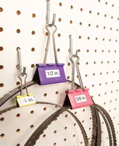 Clever Tool Storage Ideas Nest blades inside binder clips If you've ever s. Clever Tool Storage Ideas Nest blades inside binder clips If you've ever suffered the indigni Workshop Storage, Shed Storage, Tool Storage, Garage Storage, Craft Storage, Storage Ideas, Lumber Storage, Wire Storage, Cable Storage