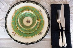 Grønn mix borddekking #bryllup #wedding #green #table setting
