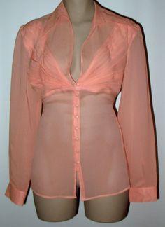 MODA Int'l VICTORIA'S SECRET Romantic Silk Chiffon Blouse M - Soft Coral NWT #ModaInternationalVictoriasSecretCompany #DressyBlouse #Versatile