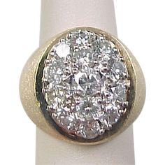Vintage 14k Gold 2.5 ctw Men's / Gents Diamond Cluster Ring