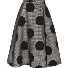 Rochas Embroidered Wool Polka Dot Skirt (11.000 BRL) ❤ liked on Polyvore featuring skirts, bottoms, saia, black, embroidered skirt, dot skirt, wool skater skirt, stretch wool skirt and polka dot circle skirt