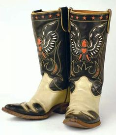 Vintage cowboy boots are Acme's with gold stitching, black ...