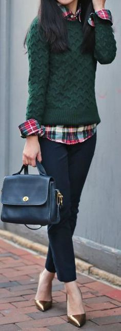 Stylish fall outfit with plaid and a chunky sweater.  ||  Friday Favorites at www.andersonandgrant.com