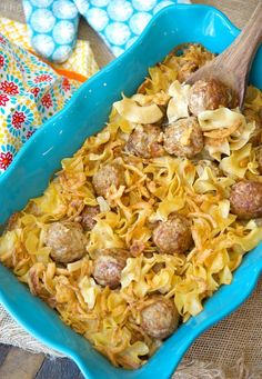 This easy Swedish meatball casserole recipe will bring you back to your childhood! Creamy comfort food with crispy onions on top will make you want seconds.