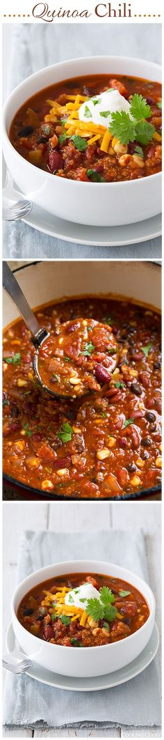 Quinoa Chili - even meat eaters LOVE this chili! Its one of my most popular recipes, try and youll see why! #vegetarian #recipes #healthy #food #recipe