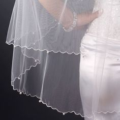 Brittany Double Layer Scalloped Corded Glass Pearl Edge Wedding Bridal Veil - White >>> Check this useful article by going to the link at the image. #hairdiva