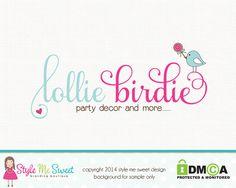Premade Party Logo Bird Logo Candy Logo Hand by stylemesweetdesign, $40.00
