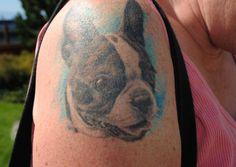 Boston Terrier Tattoo of Stan the Dog from Victoria, BC, Canada Boston Terrier Tattoo, Boston Terrier Dog, Dog Tattoos, Body Art Tattoos, Tatoos, Chinook Dog, Cobra Tattoo, Boston Art, Spitz Dogs