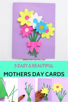 Beautiful DIY Mother's day cards for kids of all ages. Very easy to make handmade Mother's day cards. Flower bouquet card, heart card and butterfly card for Mothers day. Simple craft for preschoolers, kindergarteners, elementary school kids and tweens Mothers Day Cards Craft, Mothers Day Gifts From Daughter, Mothers Day Crafts For Kids, Diy Mothers Day Gifts, Crafts For Kids To Make, Kids Cards, Cards Diy, Diy Gifts, Kindergarten Crafts