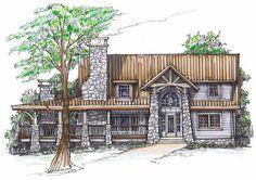 Big Rock Lodge Front Elevation -- Natural Element Homes