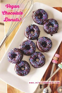 Yummy 100% Vegan Chocolate Donuts that are baked, not fried; sprinkled to perfection, suitable for tiny fingers! :) #donuts #vegan