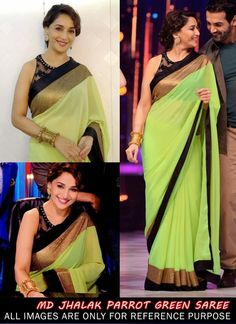 Madhuri Dixit Parrot Green Party Wear Saree From Jhalak