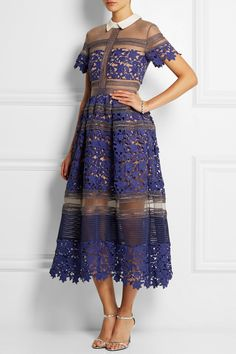 Self-Portrait | Liliana paneled floral-lace and mesh dress | NET-A-PORTER.COM