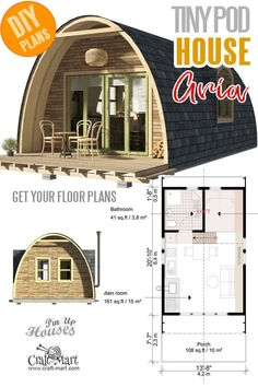 Small and tiny building plans with construction costs - Pod House Plans Aria . - Small and tiny blueprints with construction costs – Pod House Plans Aria … – - Tiny House Cabin, House With Porch, Tiny House Design, Small House Plans, Tiny Home Floor Plans, Micro House Plans, Cottage House, A Frame Cabin, A Frame House