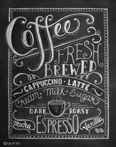Coffee Art Print - Chalkboard Art - Kitchen Chalkboard Print