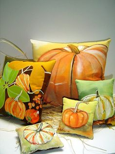 Group of 5 Fall Festive Hand Painted Pillows  by PAINTEDPILLOWS, $112.00 Love them!