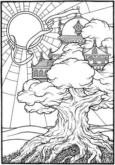 """Tree Castle,"" from EQUINOX, A Coloring Book by Stephen Barnwell."