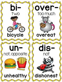 80 prefix picture cards (also come as full page posters) to help your students understand prefixes - great visuals that can be used for so many things!