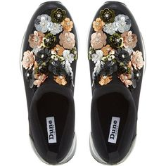 Dune Elecktra Embellished Slip On Trainers, Black ($120) ❤ liked on Polyvore featuring shoes, sneakers, flats, flat shoes, black flat shoes, embellished flats, flower flats and black slip on sneakers