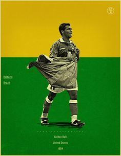 Romario USA 1994 world cup fifa golden ball winner poster illustation