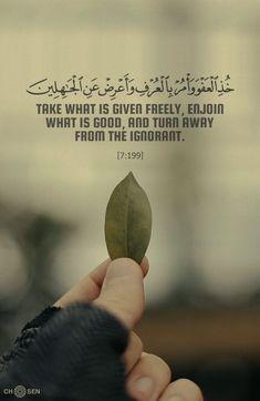 Turn away from the ignorant. Hadith Quotes, Allah Quotes, Muslim Quotes, Religious Quotes, Quotes From Quran, Hindi Quotes, Quran Sayings, Allah Islam, Islam Muslim