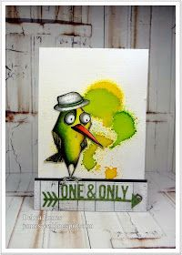 """Coloring idea for the Tim Holtz """"Bird Crazy"""" stamps - background is made with Dylusions spray inks - add a hat stamp for a masculine birthday card"""