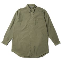 Khaki Long Silhouette Shirt (330 AUD) ❤ liked on Polyvore featuring men's fashion, men's clothing, men's shirts, men's casual shirts, mens long length shirts, mens khaki shirt, mens casual long sleeve shirts and mens military style shirt
