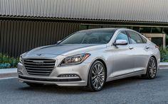 Descargar fondos de pantalla Hyundai Genesis, 2017, Plata sedán de lujo de Génesis, coches coreanos de Hyundai en