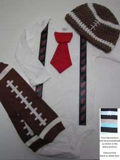 ARIZONA CARDINALS inspired football outfit for baby boy - tie bodysuit with suspenders, crochet hat, leg warmers on Etsy, $29.99
