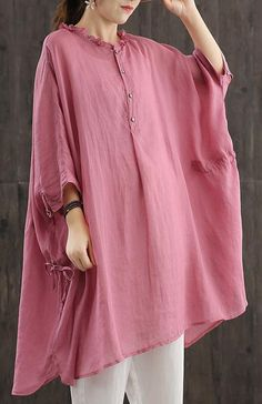 Art O Neck Drawstring Clothes Sewing Pink Blouses Baggy Tops, Yellow Shirts, Work Fashion, Half Sleeves, Pink Blouses, Long Sleeve Tops, Tunic Tops, Chic, My Style