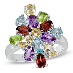 Multi-Gemstone Flower Ring in Sterling Silver