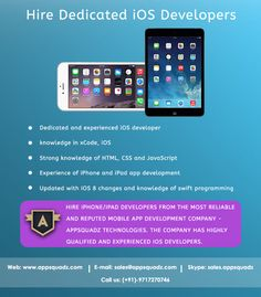 Hire iPhone/iPad developers from the most reliable and reputed mobile app development company - AppSquadz Technologies. The company has highly qualified and experienced iOS developers.
