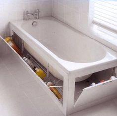 Aprovechando la bañera para guardar cosas