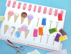 Free Printable- THEE cutest Ice Cream Color Matching Game- perfect to put inside a file folder. match Popsicles and ice cream cones!