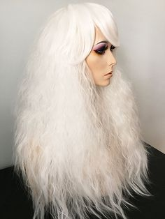 Long, crimped, drag queen, wig, bangs, volume, White Blonde
