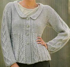 Patrones de Tejido Gratis: Suéter gris perla