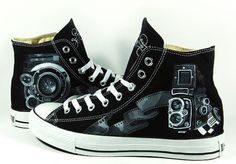 Vintage Camera Shoes Sneaker High-top Painted Canvas Shoes,High-top Painted Canvas Shoes
