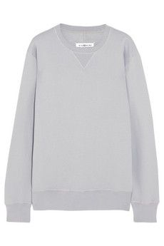 Maison Martin Margiela Leather-trimmed cotton sweatshirt | NET-A-PORTER