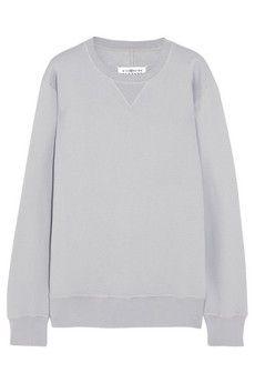 Maison Martin Margiela Leather-trimmed cotton sweatshirt   NET-A-PORTER