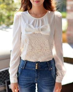#AdoreWe #VIPme Blouses & Shirts - Dabuwawa Vintage White Bow Floral Long Sleeve Blouse - AdoreWe.com