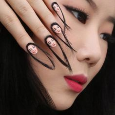 Artist Dain Yoon shares her creative nails, which are essentially mini hand-painted selfies -- with hair! Bad Nails, Crazy Nails, Cute Nails, Pretty Nails, Weird Nails, Nail Art Designs, Design Art, Nagellack Trends, Manicure E Pedicure
