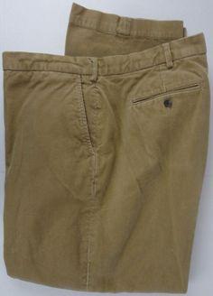 Polo Ralph Lauren 48X32 Khaki Corduroy Pants Fine Wale Flat Front Cotton Big Tal #PoloRalphLauren #Corduroys