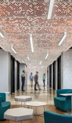 Vapor® ceiling systems offer a variety of patterns generated from simple, repea. Exposed Basement Ceiling, Office Ceiling, Floor Ceiling, Corporate Office Design, Corporate Interiors, Office Interiors, Architecture Restaurant, Interior Architecture, Ceiling Detail