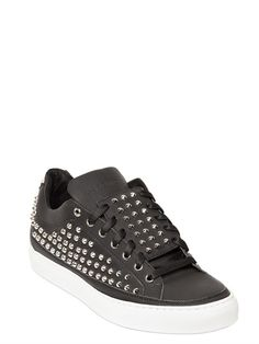 GIACOMORELLI - SPIKE RUBBERIZED LEATHER SNEAKERS
