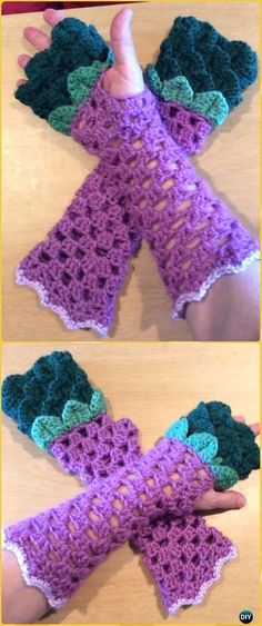 Crochet Dragon Scale Fingerless Gloves Free Pattern - Crochet Dragon Scale Crocodile Stitch Gloves Patterns